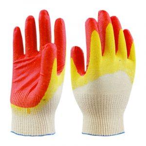 Перчатки ХБ с 2-м латексным покрытием красно-желтые, пар