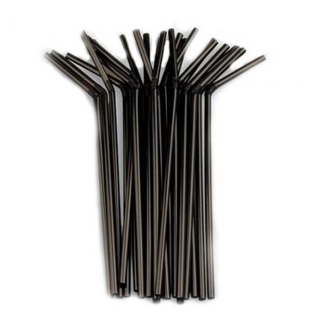 Трубочка д/коктейля с изгибом черная (250/12000 ), упак