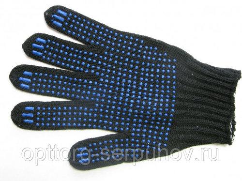 Перчатки ХБ ПВХ (4/10) чёрные(10/500) ХБ, пар