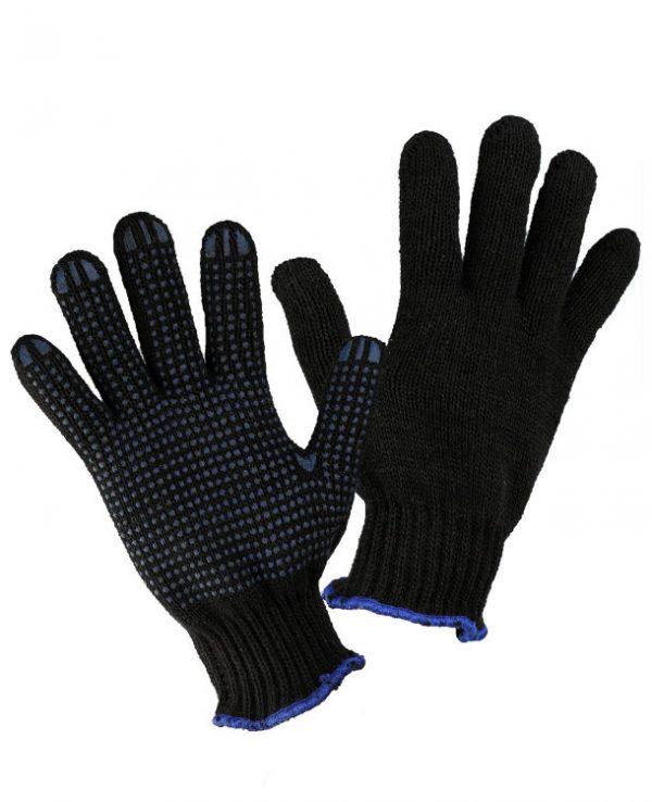 Перчатки черные двойные ЗИМА с ПВХ, пар