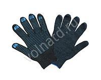 Перчатки ХБ ПВХ (6/7,5) плотные черные (10/300) ЛТ, пар